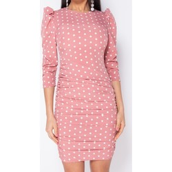 Textiel Dames Korte jurken Parisian Polka Dot Puff Sleeve Ruching Detail Bodycon Dress - Roze
