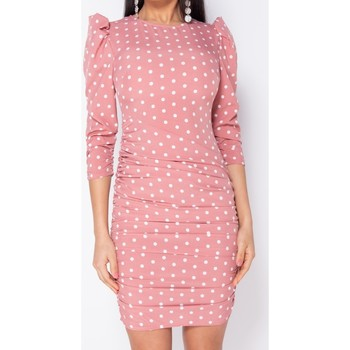 Textiel Dames Korte jurken Parisian Polka Dot Puff Sleeve Ruching Detail Bodycon Dress Roze