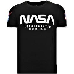 Textiel Heren T-shirts korte mouwen Local Fanatic Bedrukte T-shirt - NASA American Flag Shirt - Zwart
