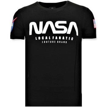 Textiel Heren T-shirts korte mouwen Local Fanatic Bedrukte NASA American Flag Zwart
