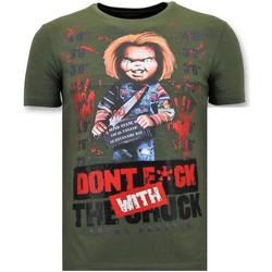 Textiel Heren T-shirts korte mouwen Local Fanatic Stoere T-shirt - Bloody Chucky Angry Print - Groen