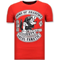 Textiel Heren T-shirts korte mouwen Local Fanatic Sons Of Anarchy Print Rood