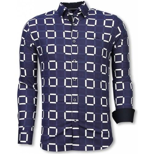 Textiel Heren Overhemden lange mouwen Tony Backer Italiaanse Overhemden - Slim Fit -  Block Pattern - Blauw