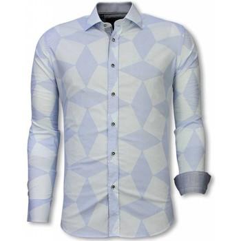 Textiel Heren Overhemden lange mouwen Tony Backer Italiaanse Overhemden - Slim Fit -  Line Pattern - Licht Wit, Blauw