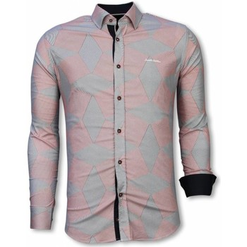 Textiel Heren Overhemden lange mouwen Tony Backer Italiaanse Overhemden - Slim Fit -  Line Pattern - Blauw, Rood