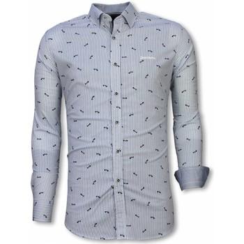 Textiel Heren Overhemden lange mouwen Tony Backer Italiaanse Overhemden - Slim Fit -  Fishbone Pattern - Licht Wit, Blauw