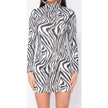 Textiel Dames Korte jurken Parisian Zebra Print High Neck - Bodycon Dress - Wit