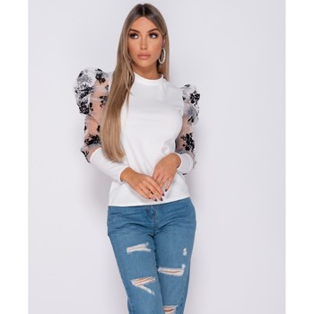 Textiel Dames Tops / Blousjes Parisian Floral Flock Print Puffed Sleeve High Neck Tops Wit