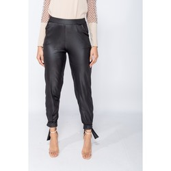 Textiel Dames Chino's Parisian Wet Look Tie Up Hem Tapered Trousers Zwart