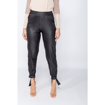 Textiel Dames Chino's Parisian Wet Look Tie Up Hem Tapered Trousers - Zwart