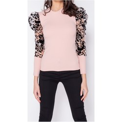Textiel Dames Tops / Blousjes Parisian Sheer Flock Print Organza Sleeve High Neck Top - Roze