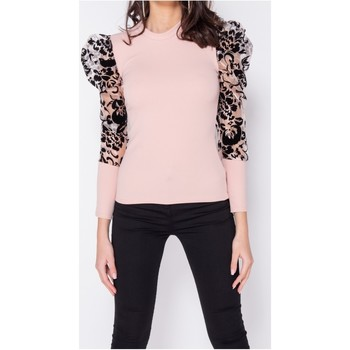 Textiel Dames Tops / Blousjes Parisian Sheer Flock Print Organza Sleeve High Neck Top Roze