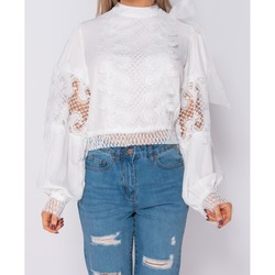 Textiel Dames Tops / Blousjes Parisian Lace Panel Detail Bow Blouse Wit