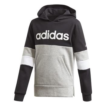 Textiel Jongens Sweaters / Sweatshirts adidas Performance YB LIN CB HD FL Zwart / Grijs