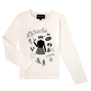 Textiel Meisjes T-shirts met lange mouwen Emporio Armani 6H3T01-3J2IZ-0101 Wit