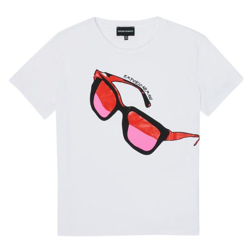 Textiel Meisjes T-shirts korte mouwen Emporio Armani 6H3T7T-3J2IZ-0100 Wit