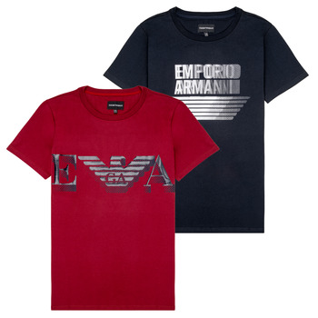 Textiel Jongens T-shirts korte mouwen Emporio Armani 6H4D22-4J09Z-0353 Zwart / Rood