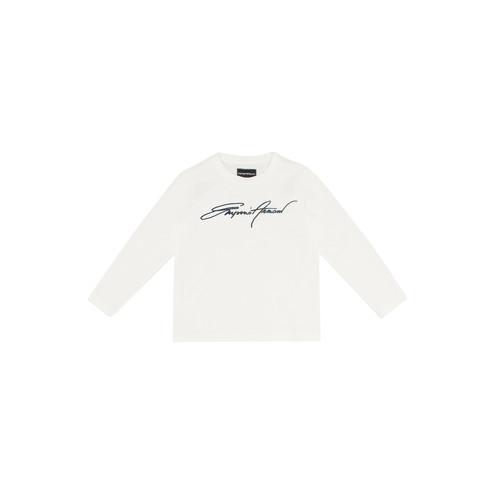 Textiel Jongens T-shirts met lange mouwen Emporio Armani 6H4TJN-1JTUZ-0101 Wit