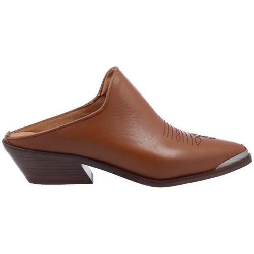 Schoenen Dames Leren slippers Alpe Zuecos Tejanos Casual para Mujer de  4591 Bruin