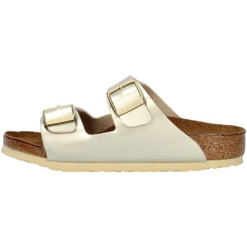 Schoenen Meisjes Leren slippers Birkenstock 1014841 Platinum