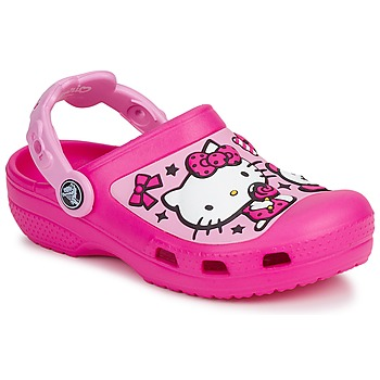 Schoenen Meisjes Klompen Crocs HELLO KITTY CANDY RIBBONS CLOG Roze