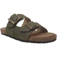Schoenen Heren Leren slippers Kickers Orano Kaki leer