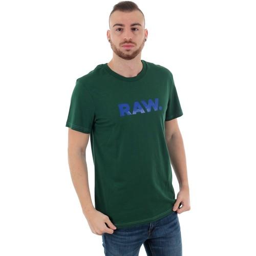 Textiel Heren T-shirts korte mouwen G-Star Raw GRAPHIC 78 R T SS GURIN GREEN Verde