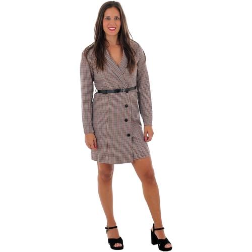 Textiel Dames Korte jurken Vero Moda 10220439 VMALICIA L/S SHORT DRESS TOBACCO BROWN SMALL Beige