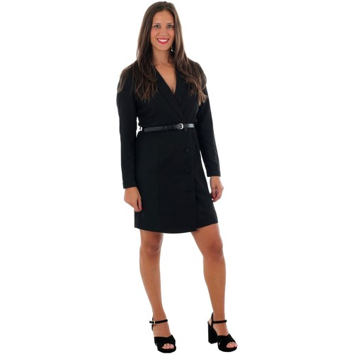 Textiel Dames Korte jurken Vero Moda 10220439 VMALICIA L/S SHORT DRESS BLACK SOLID Negro