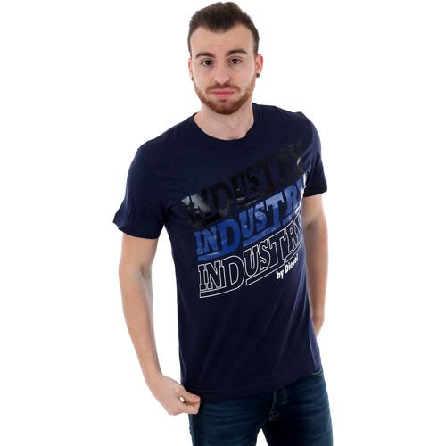 Textiel Heren T-shirts korte mouwen Diesel 00S3F-0091-8AT NAVY Azul marino