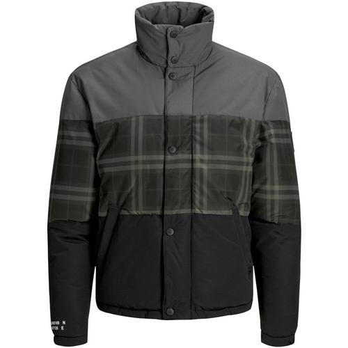 Textiel Heren Wind jackets Jack & Jones 12161841 JCONOAH SHORT PUFFER ASPHALT CHECKED Gris