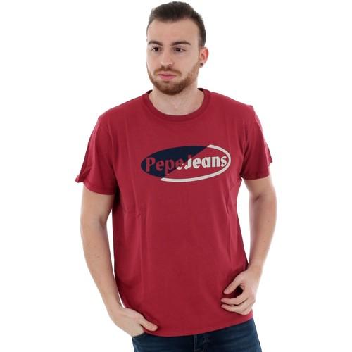 Textiel Heren T-shirts korte mouwen Pepe jeans PM506840 KYLE - 284 GARNET Burdeos