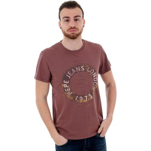 Textiel Heren T-shirts korte mouwen Pepe jeans PM506833 RYTON - 299 BURGUNDY Burdeos