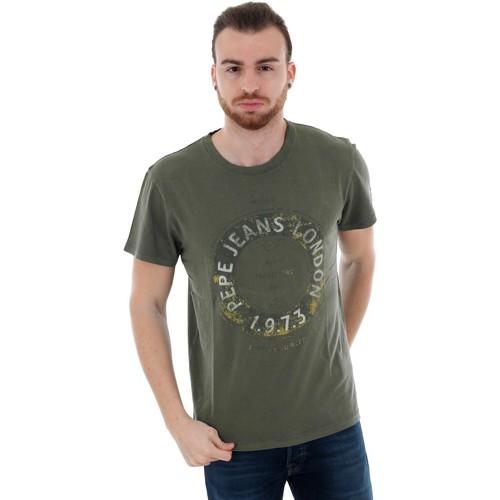 Textiel Heren T-shirts korte mouwen Pepe jeans PM506833 RYTON - 785 DARK KHAKI GREEN Verde