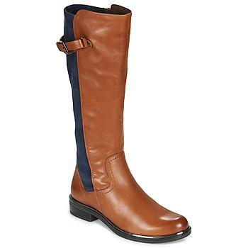 Schoenen Dames Hoge laarzen Caprice 25504-387 Cognac / Blauw