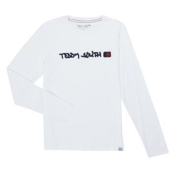 Textiel Jongens T-shirts met lange mouwen Teddy Smith CLAP Wit