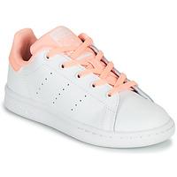 Schoenen Meisjes Lage sneakers adidas Originals STAN SMITH C Wit / Roze