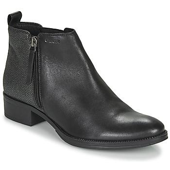 Schoenen Dames Enkellaarzen Geox LACEYIN Zwart / Zilver