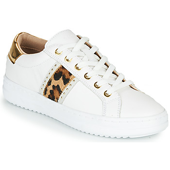 Schoenen Dames Lage sneakers Geox PONTOISE Wit / Luipaard