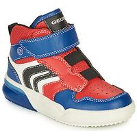 Schoenen Jongens Hoge sneakers Geox GRAYJAY Rood / Blauw