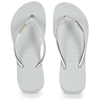 Schoenen Dames Teenslippers Havaianas Slim Flatform Glitter Zilver