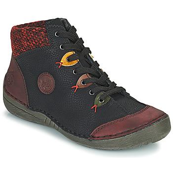 Schoenen Dames Laarzen Rieker  Zwart / Bordeau