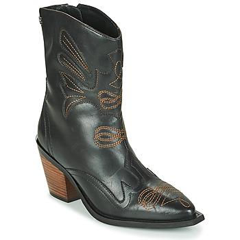 Schoenen Dames Enkellaarzen Gioseppo SERAING Zwart / Bruin