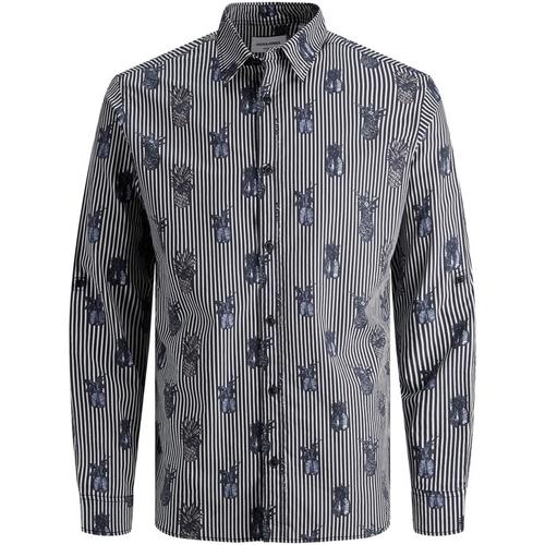 Textiel Heren Overhemden lange mouwen Jack & Jones 12167481 JORFUN LS AOP SHIRT KTF Azul marino
