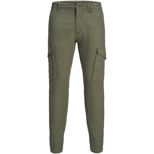 Textiel Heren Cargobroek Jack & Jones 12172186 JJIPAUL JJFLAKE LINEN AKM 982 NOOS OLIVE NIGHT Verde