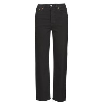 Textiel Dames Straight jeans Levi's RIBCAGE STRAIGHT ANKLE Zwart / Hart