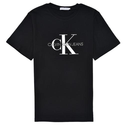 Textiel Kinderen T-shirts korte mouwen Calvin Klein Jeans MONOGRAM Zwart