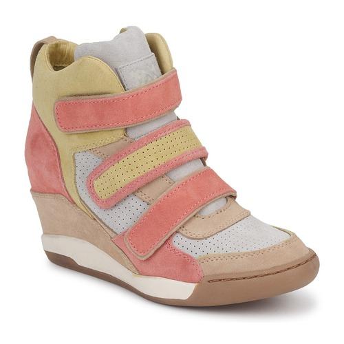 Schoenen Dames Hoge sneakers Ash ALEX Koraal / Geel / Taupe