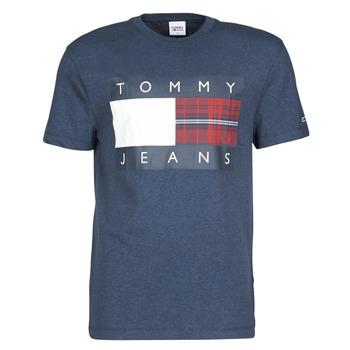 Textiel Heren T-shirts korte mouwen Tommy Jeans TJM PLAID CENTRE FLAG TEE Marine