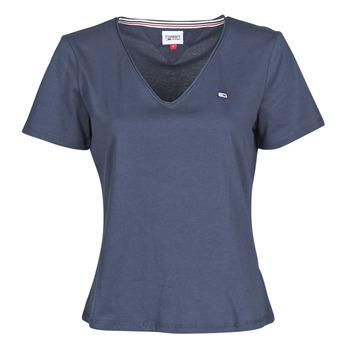 Textiel Dames T-shirts korte mouwen Tommy Jeans TJW SLIM JERSEY V NECK Marine